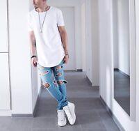Men's Long T-Shirt Extended Basic Casual Hip Hop Crew Elongated Tee Lot Black