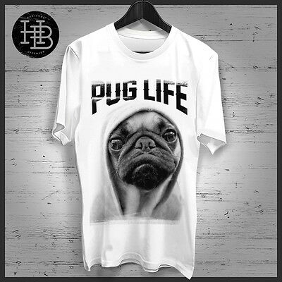 Mens Womens PUG LIFE T Shirt Pug Dog Hood Fashion Tee Singlet