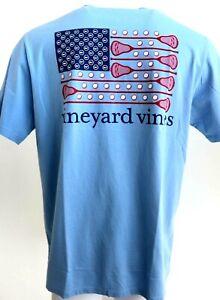 Mens-VINEYARD-VINES-Jake-Blue-Lacrosse-USA-Flag-Pocket-100-Cotton-Tee-T-Shirt