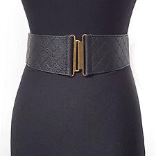 Women Wide Vintage Gold Metal Elastic Stretch Belt Waist Black Western Fashion