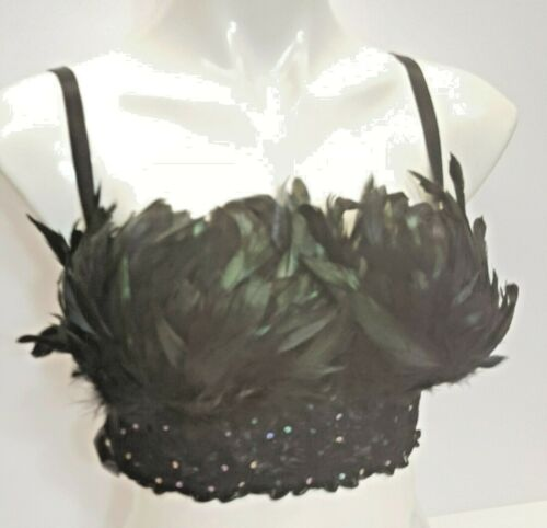 Black crop top bustier bra decorated with black and dark green feathers