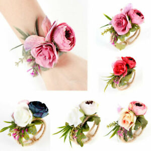 e9ba5eba99 Details about Women Wrist Corsage Bracelet Bridesmaid Sisters Hand Flowers  For Wedding Party