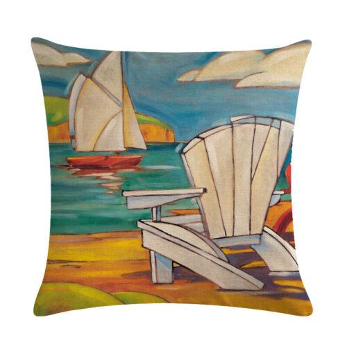 Sailling Lighthouse Throw Pillow Cover Nautical Cushion Case Sofa Car Decorative