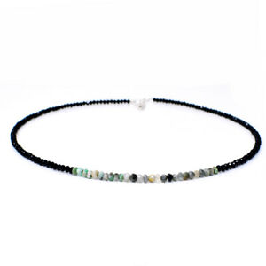 40-00-Cts-Natural-Peruvian-Opal-amp-Black-Spinel-Round-Cut-Beads-Necklace-NK-31E60