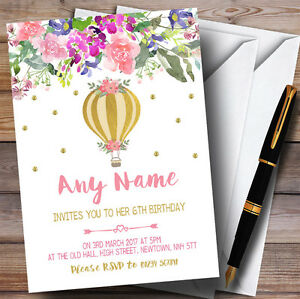 Floral gold hot air balloon childrens birthday party invitations ebay image is loading floral gold hot air balloon childrens birthday party filmwisefo