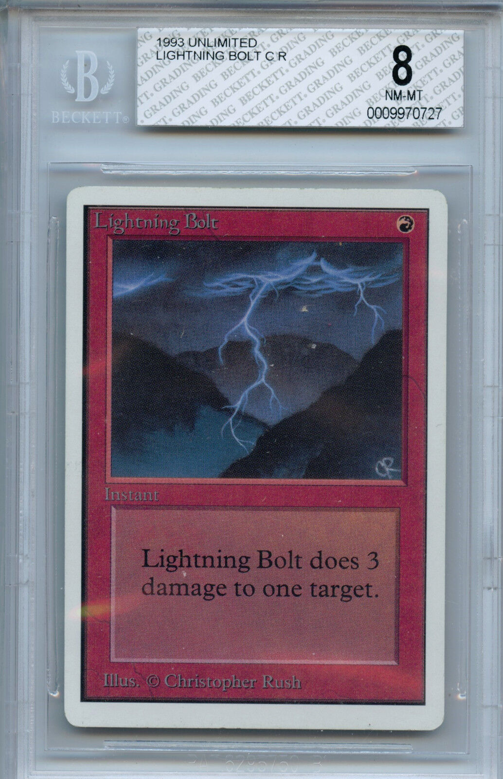MTG Unlimited Lightning Bolt BGS 8.0 Magic the Gathering WOTC Card 0727