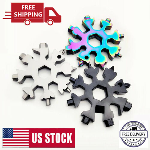 18 In 1 Portable Stainless Tool Snowflake Shape Key Chain Screwdriver Multi Tool