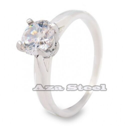 Women's Brilliant 6.6mm CZ 316L Stainless Steel Wedding Engagement Ring Size 5-8