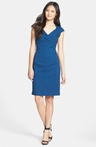 ADRIANNA PAPELL WEDGEWOOD JACQUARD SHEATH blueE DRESS sz 14