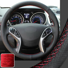 FOR HYUNDAI ELANTRA 07-11 NEW PERFORATED LEATHER STEERING WHEEL COVER RED STITCH