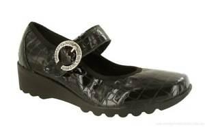 Comfort Shoes Nib Josef Seibel Carree 02 Mary Jane Wedge Clog Loafer Black Patent Women's 40