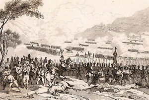Gravure-XIXe-Bataille-de-Raab-Autriche-Hongrie-Gy-r-Napoleon-Bonaparte-1835
