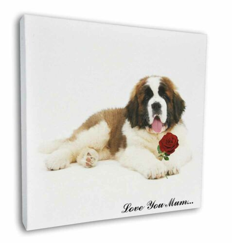 "AD-SBE5Rlym-C12 St Bernard+Rose /'Love You Mum/' 12/""x12/"" Wall Art Canvas Decor P"