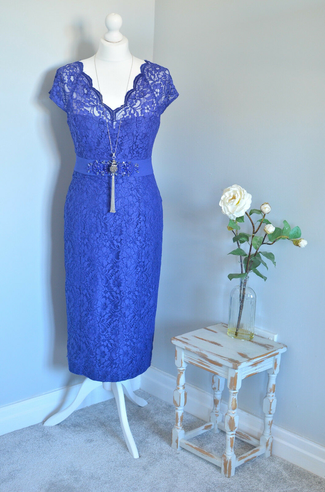 MONSOON Purple lace beaded wiggle pencil dress