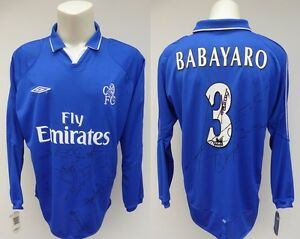 new arrival 4ba80 bb097 Details about 2001-02 Chelsea Babayaro Home Shirt Signed by Squad inc  Desailly & Petit (10229)
