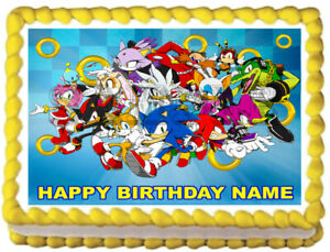 Sonic The Hedgehog Edible Cake Topper Image Party Decoration Ebay