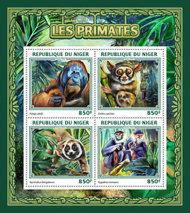Niger 2016 MNH Primates 4v M/S Orangutans Monkeys Wild Animals Stamps