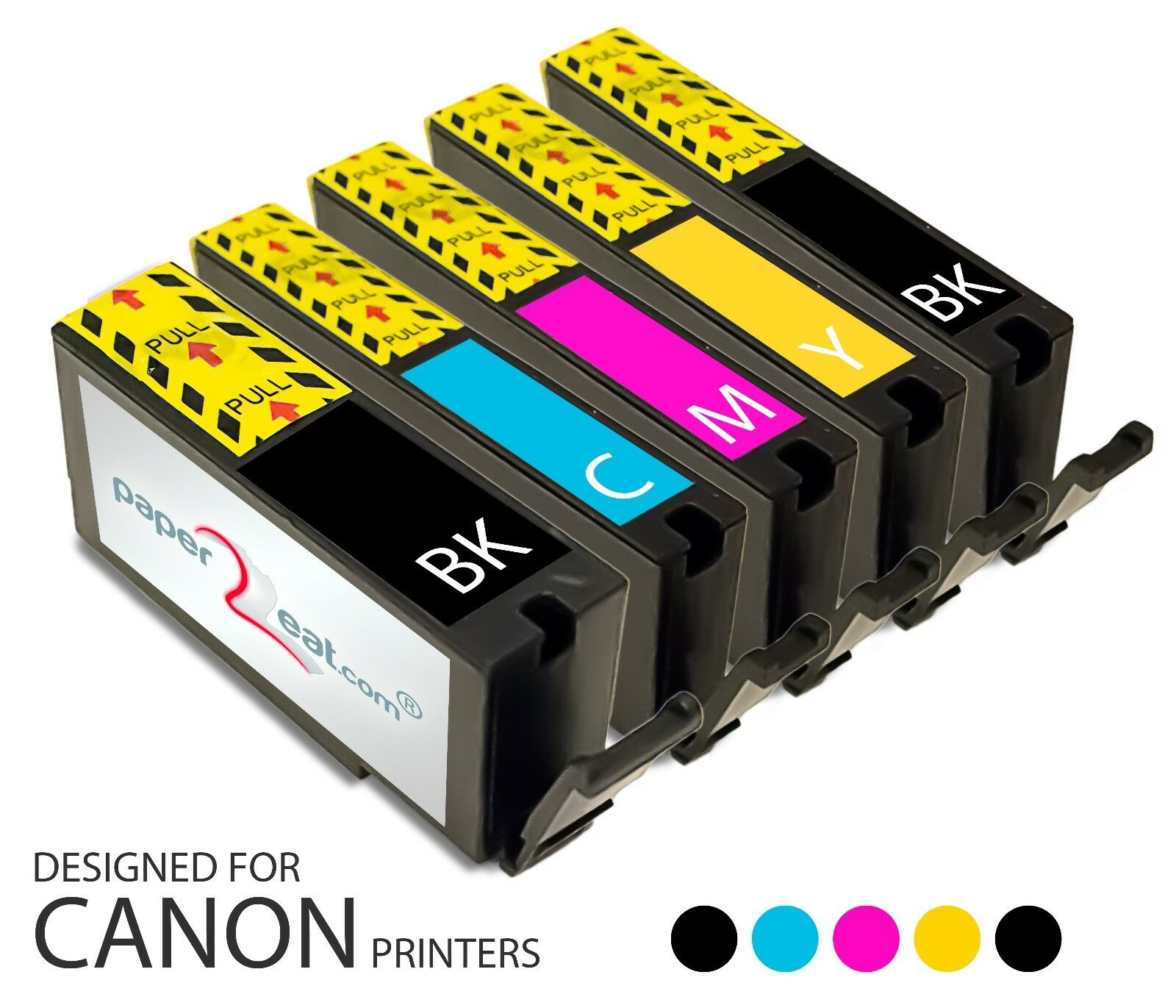 Set of 5 Refillable Edible Ink Cartridges Canon MG2420 PGI-250   CLI-251 Series