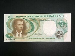 Philippines-Pilipino-Series-5-Pesos-Marcos-Licaros-1st-Issue-Banknote-1pc