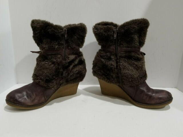 Baretraps Womens Brownish Leather Wedge Ankle Boots Size 8 M