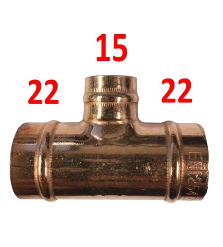 22mm x 22mm x 15mm Solder Ring Reducing Tee