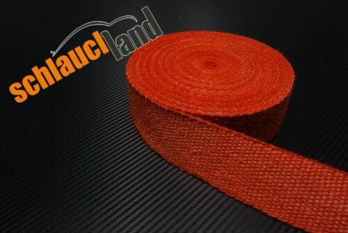15m Fiberglas Hitzeschutzband 50mm rot 800°C *** Heat Wrap Turbo Fächerkrümmer