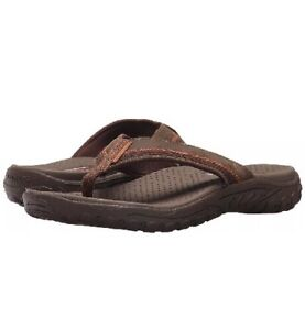 3369858ce Skechers Mens Relaxed Fit Reggae Cobano Flip-Flop Brown 65460 Size ...