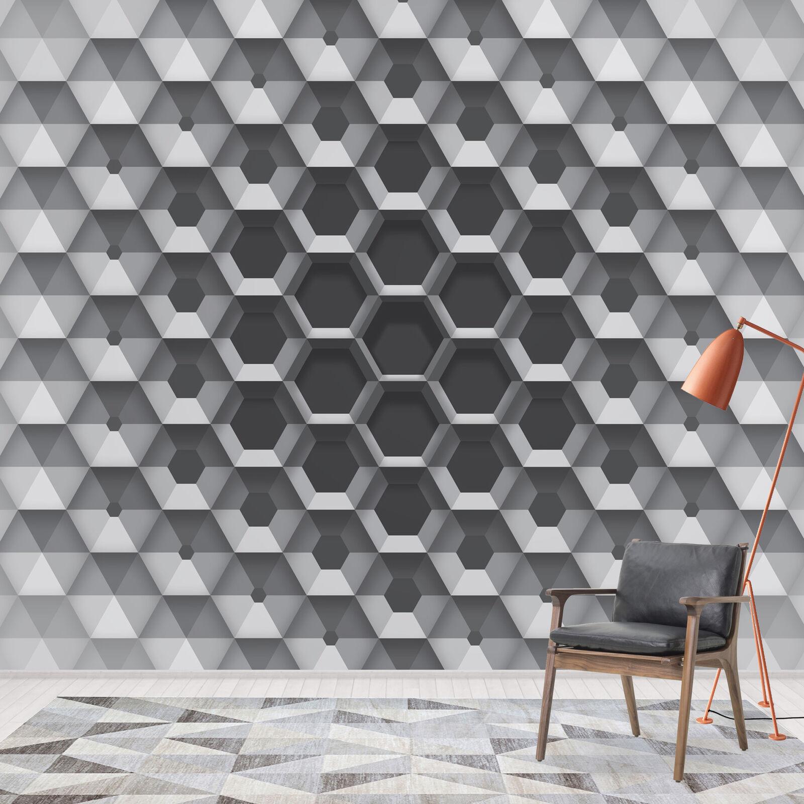 Wall Mural Wallpaper 3D Grey White Modern Living Room Wallpaper V8