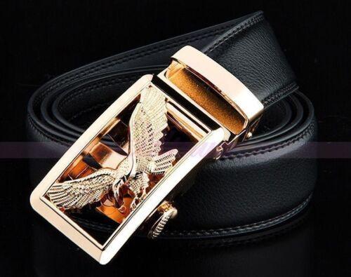 Mens Luxury Business Eagle Automatic Buckle Strap Dress Leather Waistband Belt k