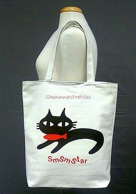 Cat & Fish Smsmstar Graphic Large Canvas Tote Bag Girls Womens Beach Shopping