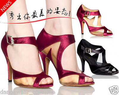 New Women Satin Ballroom Salsa Latin Dance Shoes Tango Modern Heeled Shoe US5-9