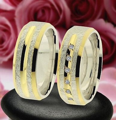 2 Trauring Eheringe Verlobungsringe , Gold Platiert *, J239-6