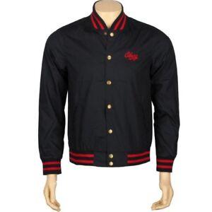 121800011nvy Lovely Luster $107.99 Obey Rebel Varsity Jacket navy