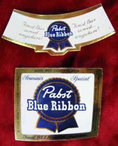 Pabst-Azul-Cinta-Cerveza-10-Original-1955-Miniatura-Botella-Etiquetas