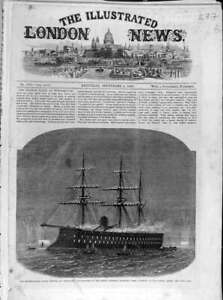 Original-Old-Antique-Print-1865-Naval-Festival-Cherbourg-French-Ironclad-Magenta