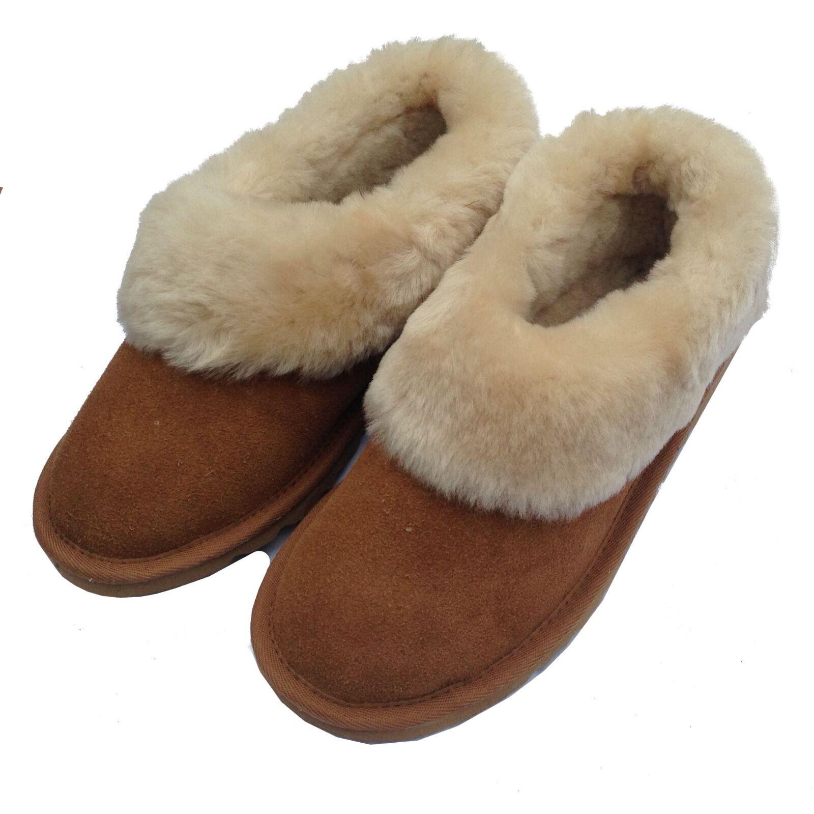Deluxe Donna arrotondata Boot-CASTAGNO-restituzioni pelle di pecora Pantofole Boot-CASTAGNO-restituzioni arrotondata Gratis 8874de