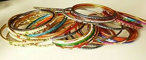 (VZ2) BUNDLE OF 46 COLOURFUL CHILDRENS THIN METAL BOLLYWOOD BANGLES
