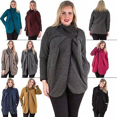 Women Ladies Italian Lagenlook Cape Wool Buckle Collar Jacket Poncho Coat Jumper