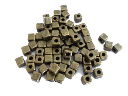 75 abalorios metálicos dados 4mm Antik de latón de colores spacer perlas nenad-Design an483