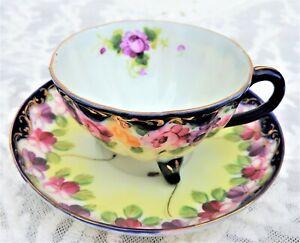 Vintage Hand Painted Teacup & Saucer JAPAN Gold Trim Floral