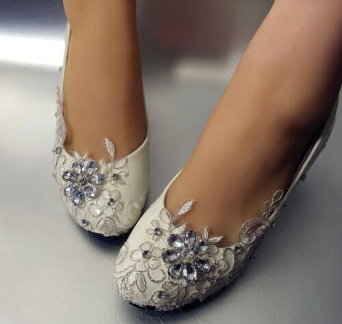 su.cheny Lace white ivory crystal flats low high heel pump Wedding Bridal shoes