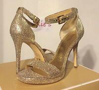 Michael Kors Sienna Sandal Glitter Silver / Sand Platform Ankle Strap Evening