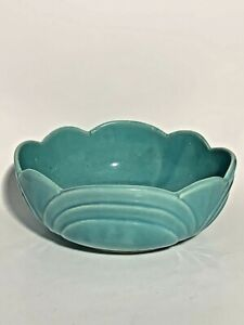 "Vintage USA Pottery Light Blue Glaze Ceramic Succulent Planter Bowl 8""x3.25"""