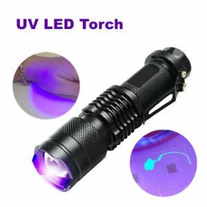 UV Ultra Violet LED Flashlight Blacklight Light 395//365 nM Inspection Lamp Torch