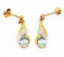 9 carati oro giallo il topazio blu e diamante orecchini completamente marchiato
