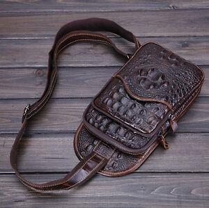 Hombres-Bolso-Cuero-Crocodile-Mochila-Bandolera-Viajar-Bolsa-de-Hombro-Bag-Pack