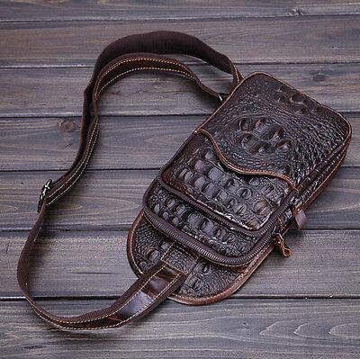 Men Leather Crocodile Travel Cross Body Shoulder Messenger Sling Pack Chest Bag