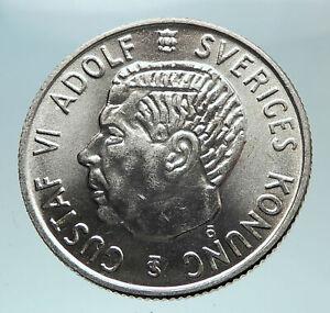 1952-SWEDEN-King-GUSTAV-VI-ADOLF-2-Kronor-LARGE-Silver-SWEDISH-Coin-i80970