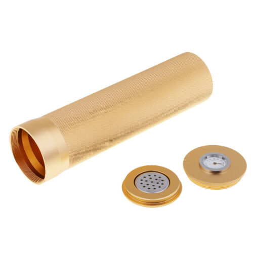 Lightweight Travel Cigar Case Tube Box Holder Humidor with Hygrometer Gold