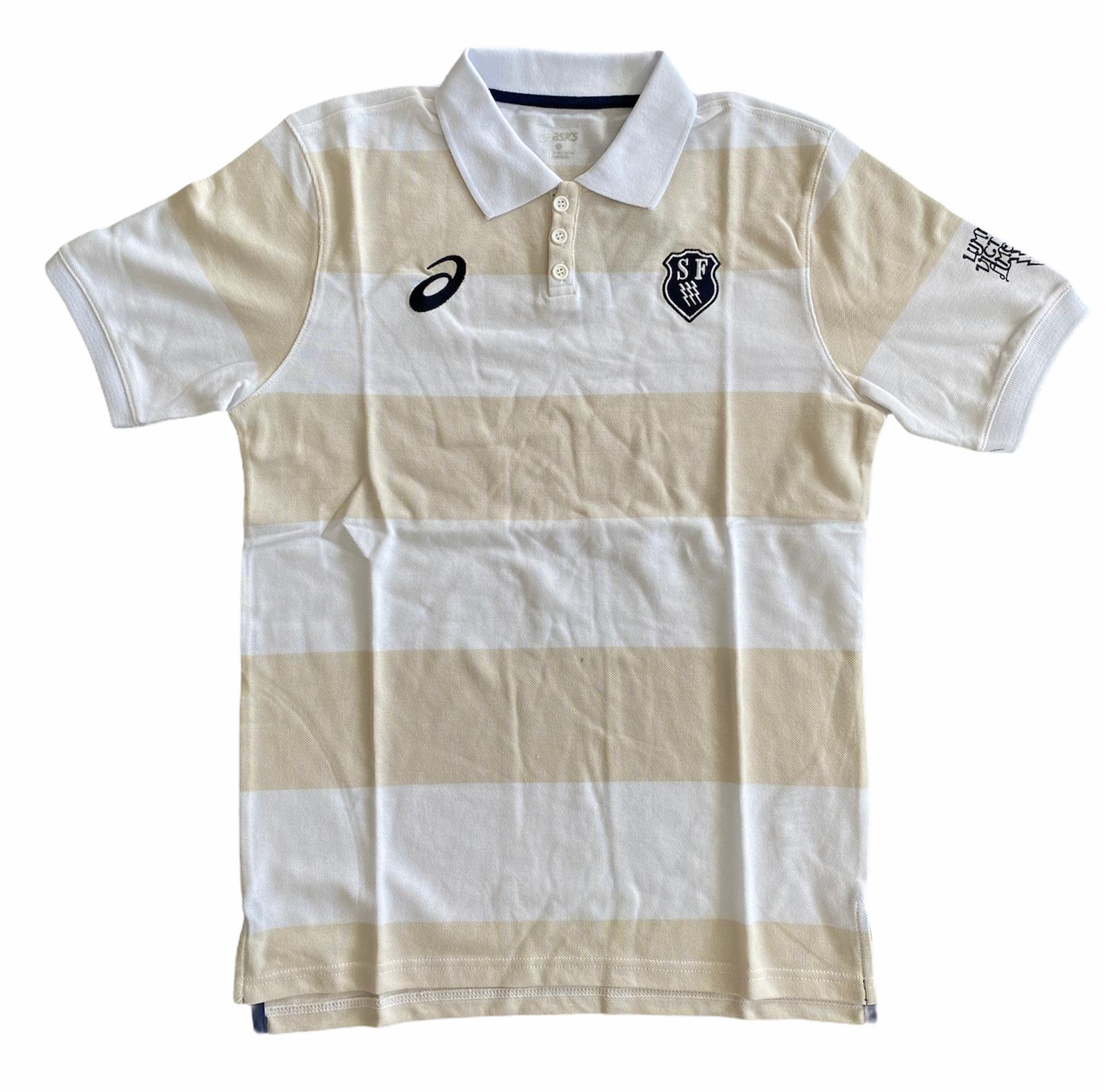 Stade Francais Mens Polo Asics Short-Sleeved Rugby Polo Shirt - New